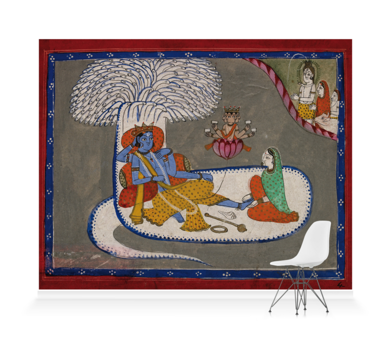 'Vishnu Reclining on the Serpent Shesha' Wallpaper Mural