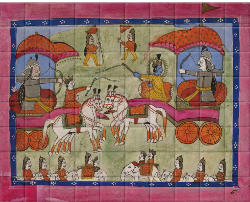 'Krishna and Arjuna on the Battlefield' Ceramic Tile Mural