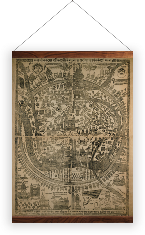 'Pilgrim Map of Varanasi (Benares)' Wall Hanging