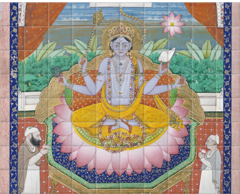 'Vishnu on a Lotus Petal Throne' Ceramic Tile Mural