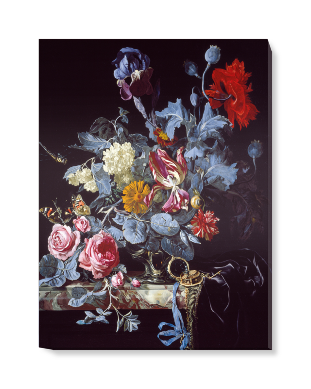 'A Vase of Flowers with a Watch' Canvas Wall Art