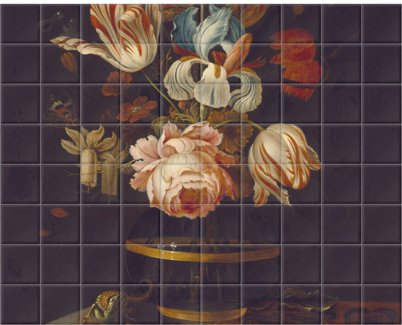'A Vase of Flowers with Insect and Reptile.' Ceramic Tile Mural
