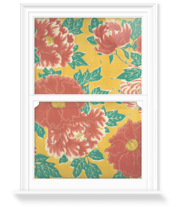 'Red floral & green foliage on a yellow background' Decorative Window Film