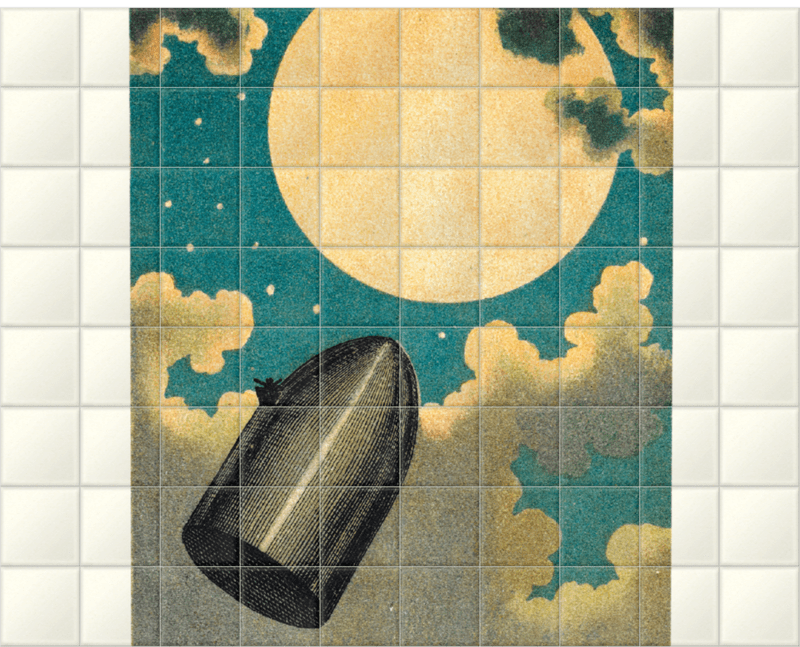 'The projectile passing the Moon' Ceramic Tile Mural