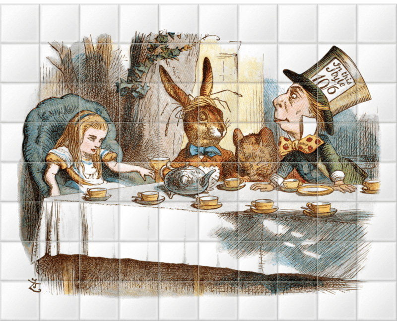 'The Mad Hatter's Tea Party II' Ceramic Tile Mural