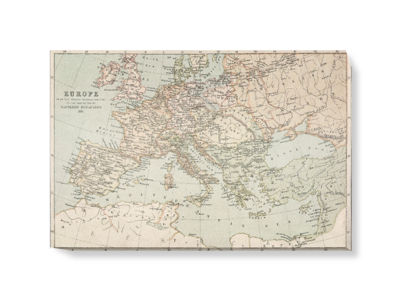 'A map of Napoleonic Europe' Canvas Wall Art
