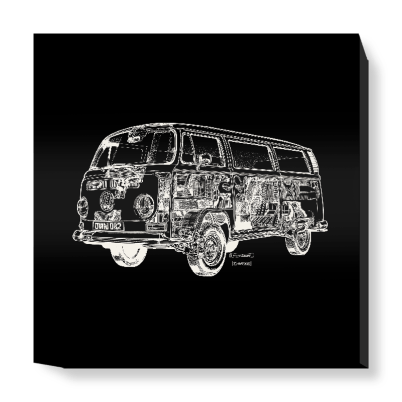 'Black Camper Van' Canvas Wall Art