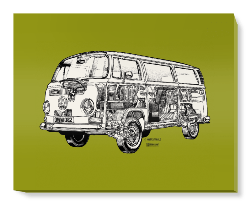 'Olive Green Camper Van' Canvas Wall Art