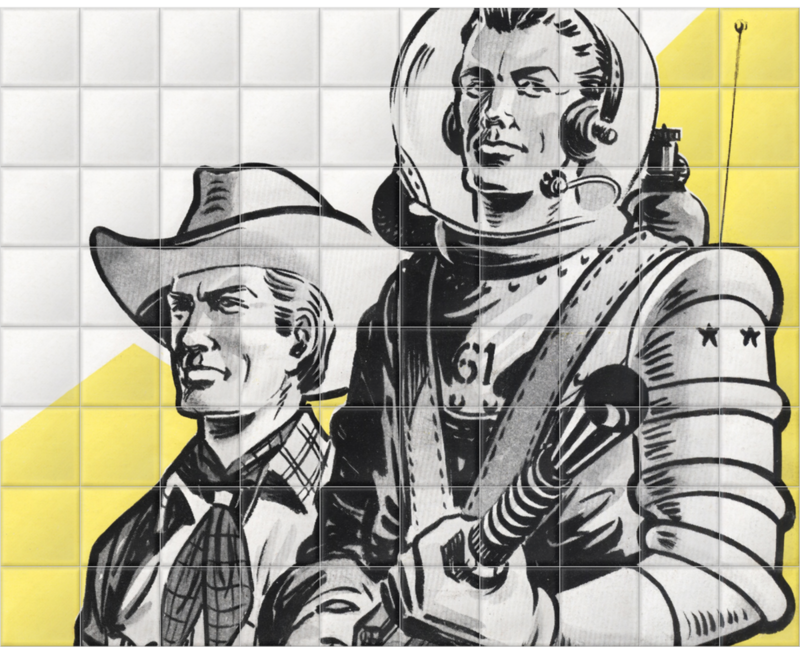 'Astronauts and Cowboys' Ceramic Tile Mural