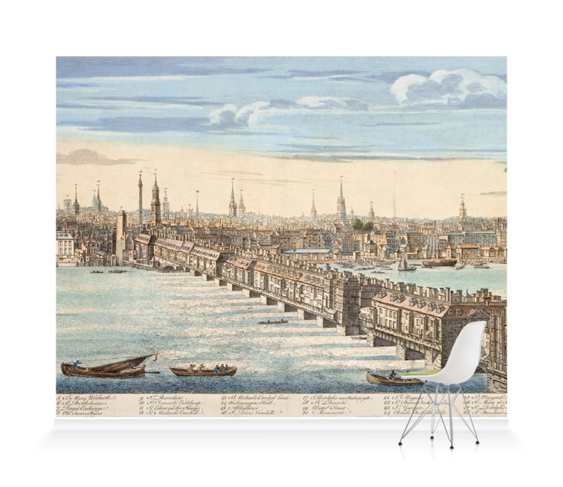 'Panorama of London and the River Thames' Wallpaper Mural
