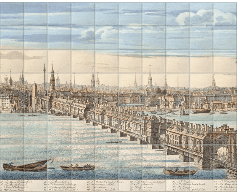 'Panorama of London and the River Thames' Ceramic Tile Mural