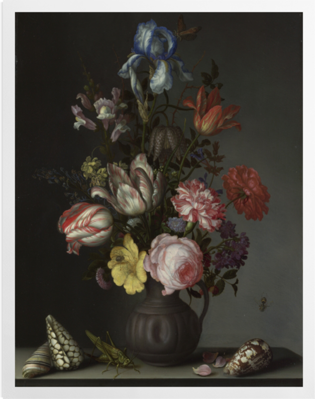 'Flowers in a Vase with Shells and Insects' Art Prints