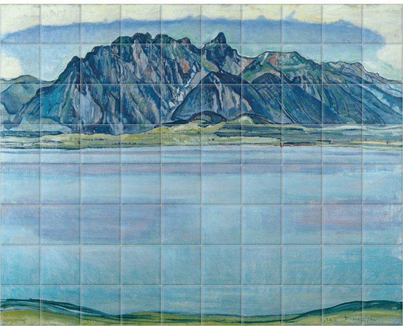 'Lake Thun and the Stockhorn Mountains' Ceramic Tile Mural
