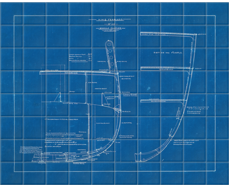 'Midship Section From HMS Fearless' Ceramic Tile Mural