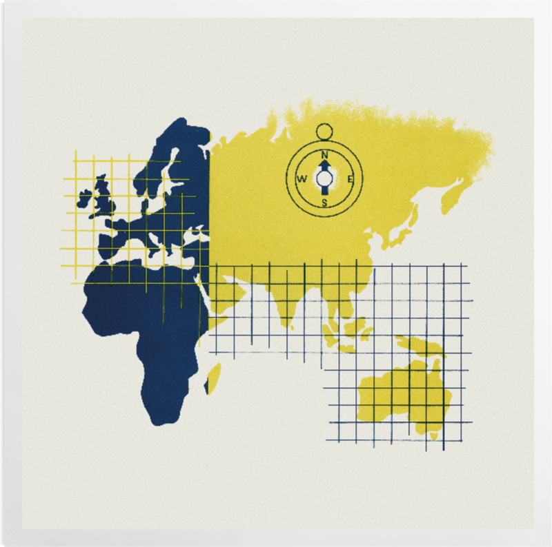 'World map designed for the Orient Line' Art Prints