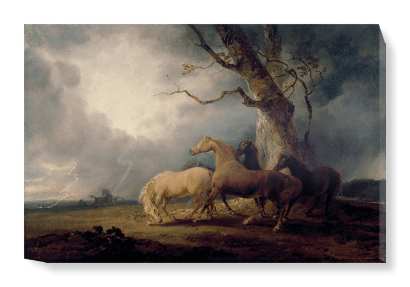 'Horses in a Thunderstorm' Canvas Wall Art