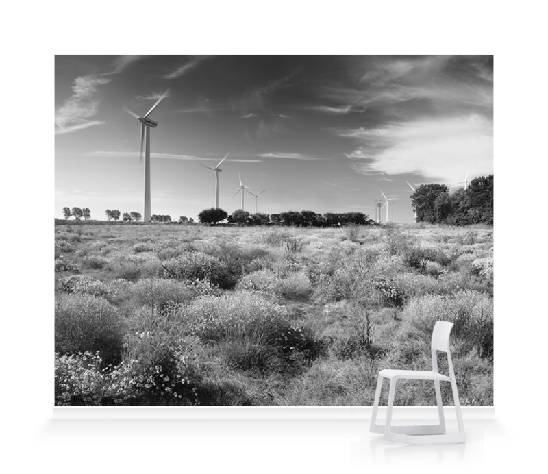 Panorama Of Wind Turbines And Wildflowers Bw Wallpaper