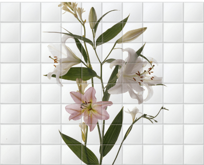 'Star Gazer' Lillies' Ceramic Tile Mural