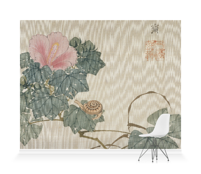 'Snail, Pink Flower and Foliage' Wallpaper Mural