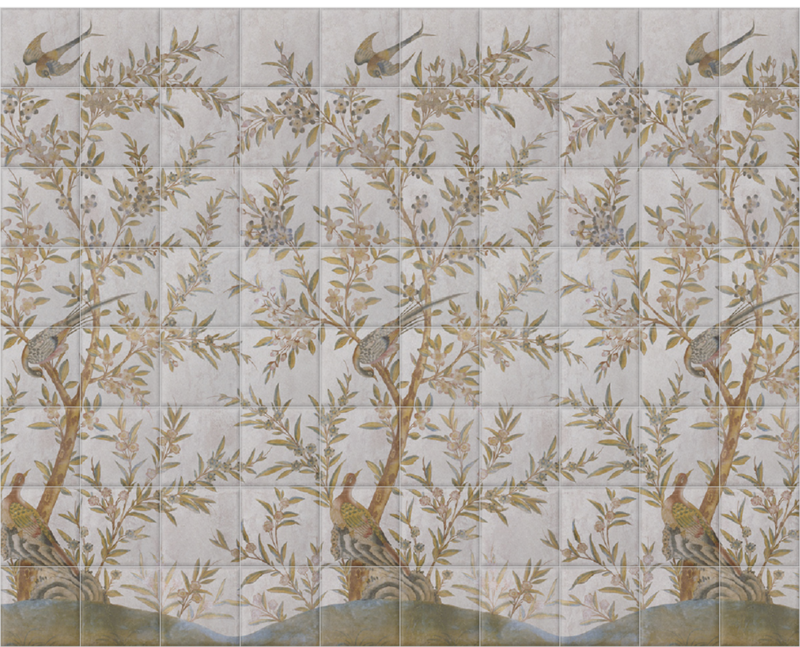 'Wotton-Under-Edge Chinoiserie Stone' Ceramic tile murals