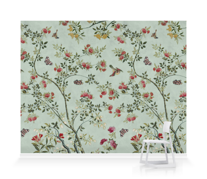 'Camellia Chinoiserie Duck Egg' Wallpaper murals