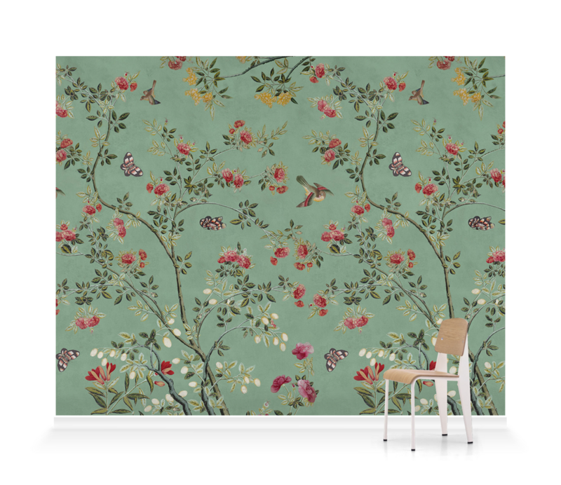 'Camellia Chinoiserie Jade Green' Wallpaper murals