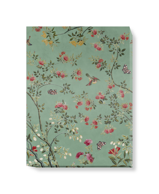 'Camellia Chinoiserie Jade Green' Canvas wall art
