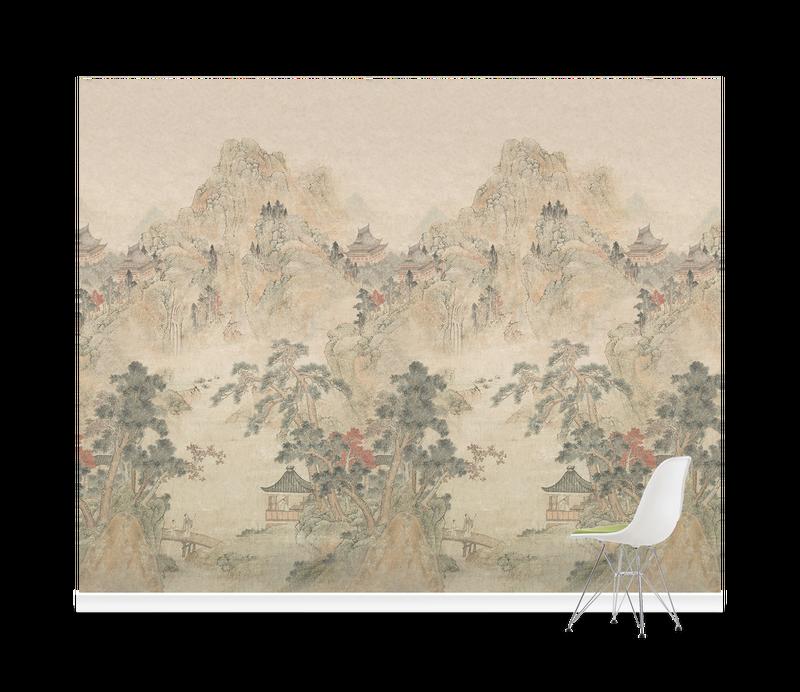 Ming Mountain Linen Wallpaper Mural V A Asian Wallpaper