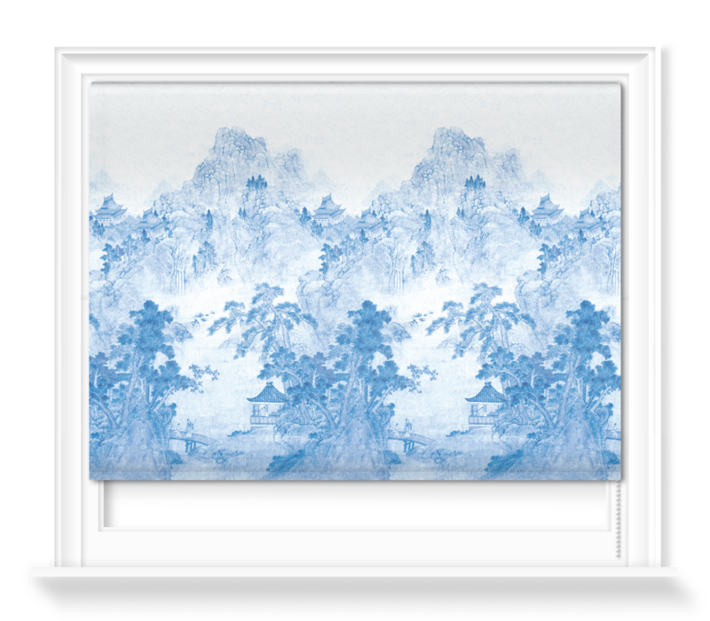 'Ming Mountain Scenic China Blue' Roller blinds