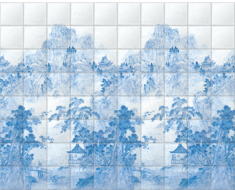 'Ming Mountain Scenic China Blue' Ceramic tile murals