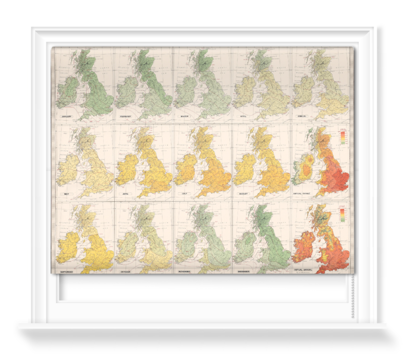 'Isotherms - British Isles' Roller Blind