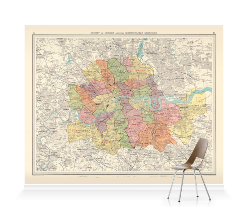 'County of London' Wallpaper Mural