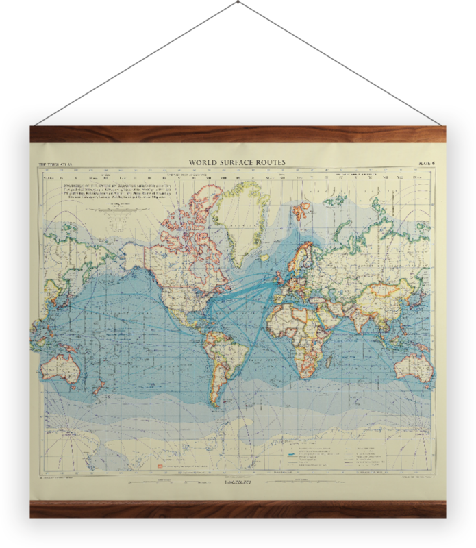 'World Surface Routes' Wall Hanging