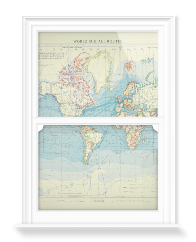 'World Surface Routes' Decorative Window Film