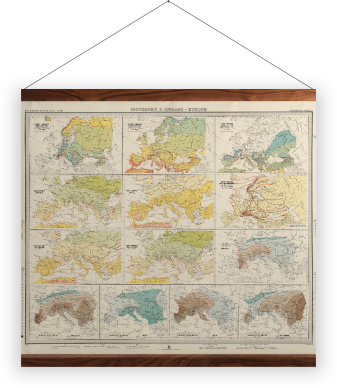 'Isotherms and Isobars - Europe' Wall Hanging