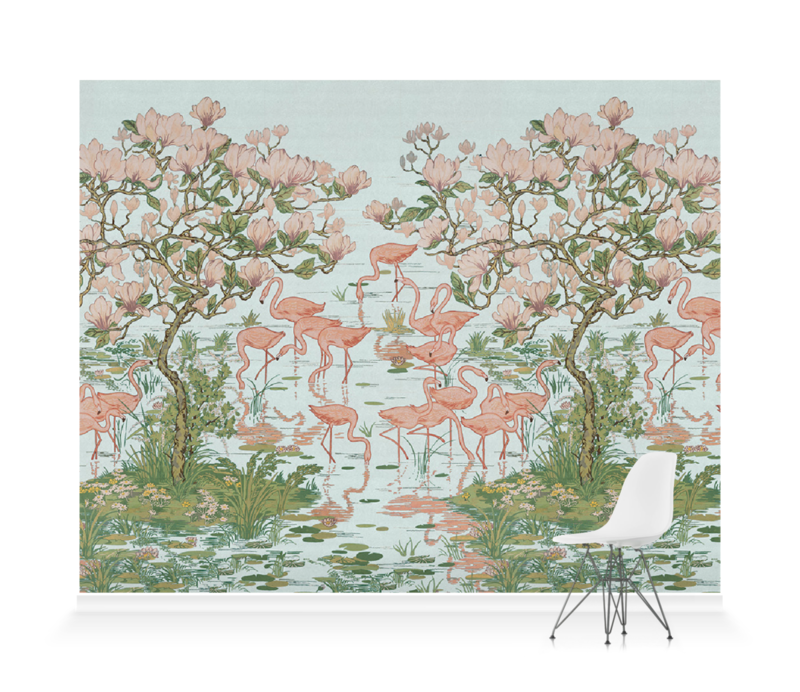 'Flamingoes and Magnolia Scenic Aqua' Wallpaper murals