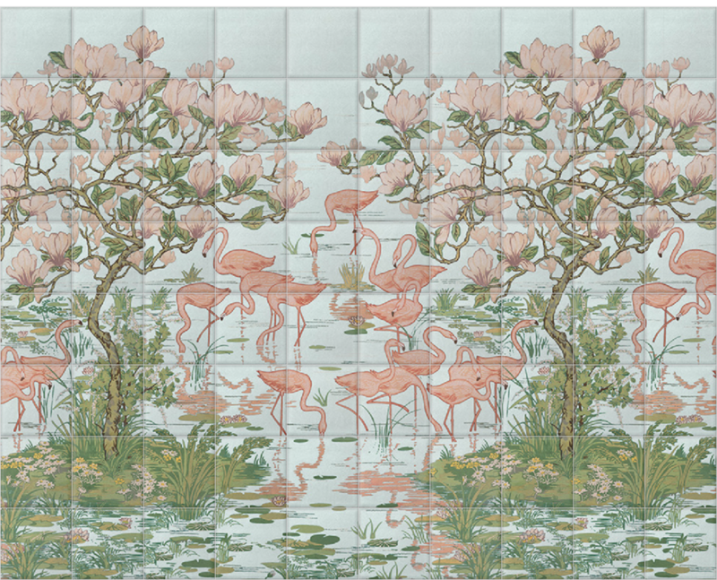 'Flamingoes and Magnolia Scenic Aqua' Ceramic tile murals