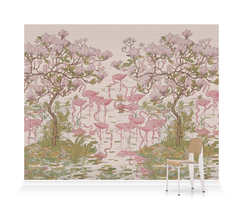 'Flamingoes and Magnolia Scenic Plaster Pink' Wallpaper murals