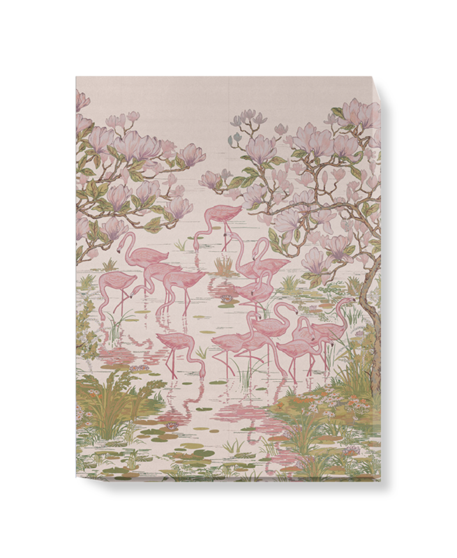 'Flamingoes and Magnolia Scenic Plaster Pink' Canvas wall art