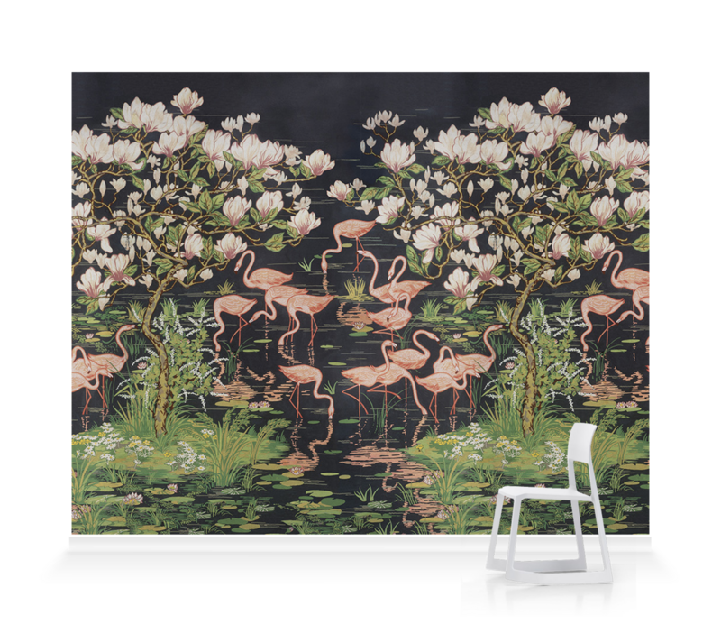 'Flamingoes and Magnolia Scenic Midnight' Wallpaper murals