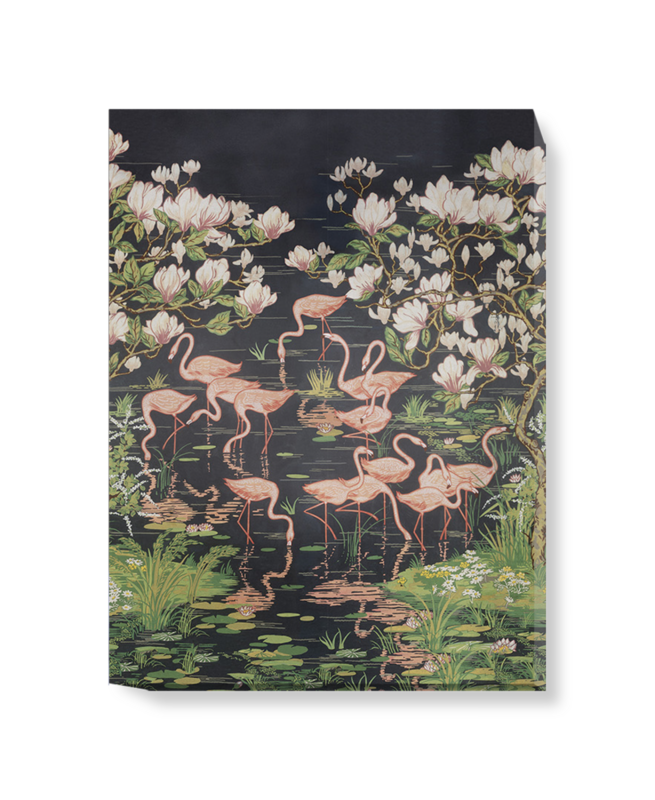 'Flamingoes and Magnolia Scenic Midnight' Canvas wall art